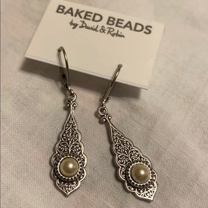 BAKED BEADS Earrings Silver Pearl NEW